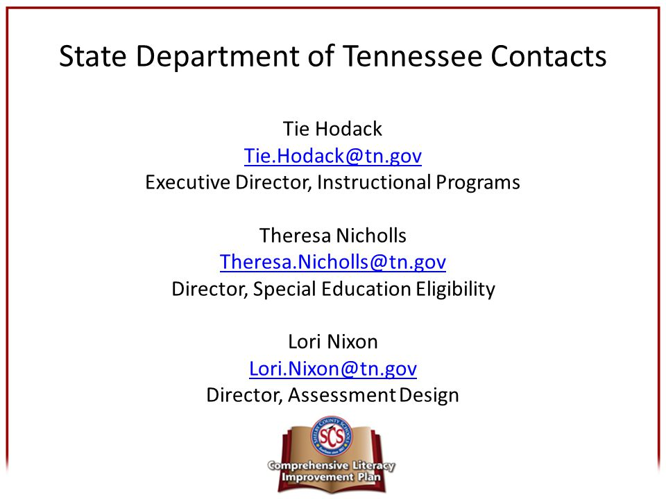 State Department of Tennessee Contacts Tie Hodack Tie. Hodack@tn