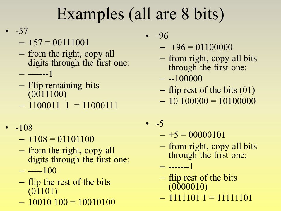 Examples (all are 8 bits)
