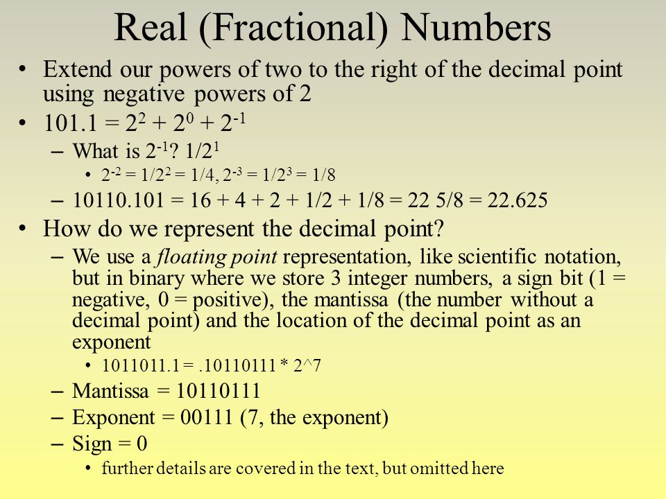 Real (Fractional) Numbers