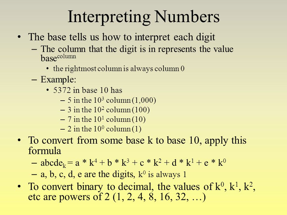 Interpreting Numbers The base tells us how to interpret each digit