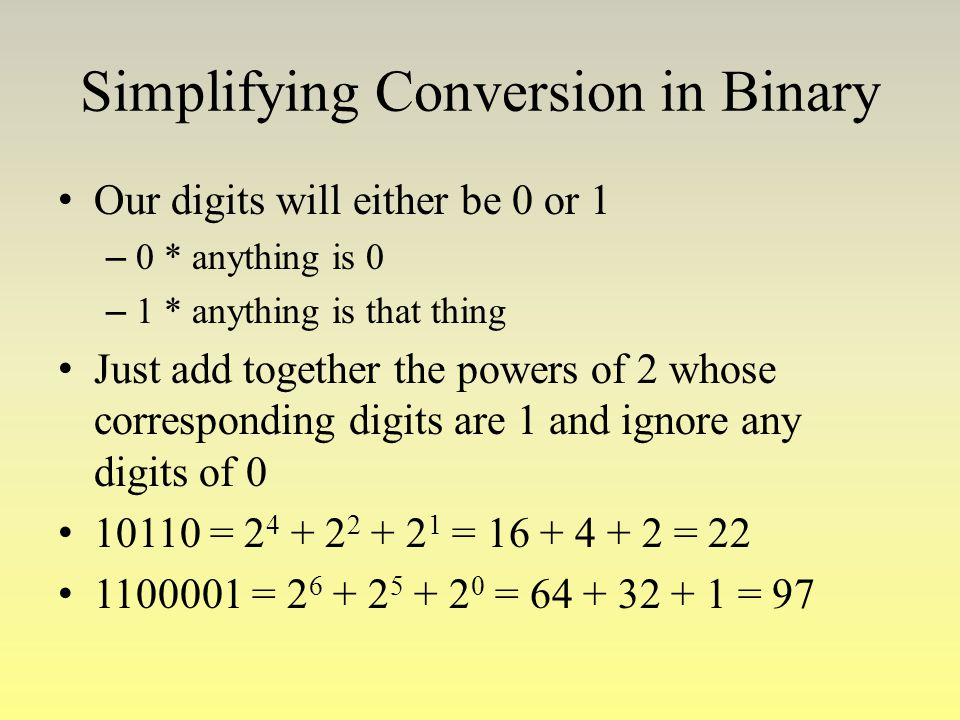Simplifying Conversion in Binary