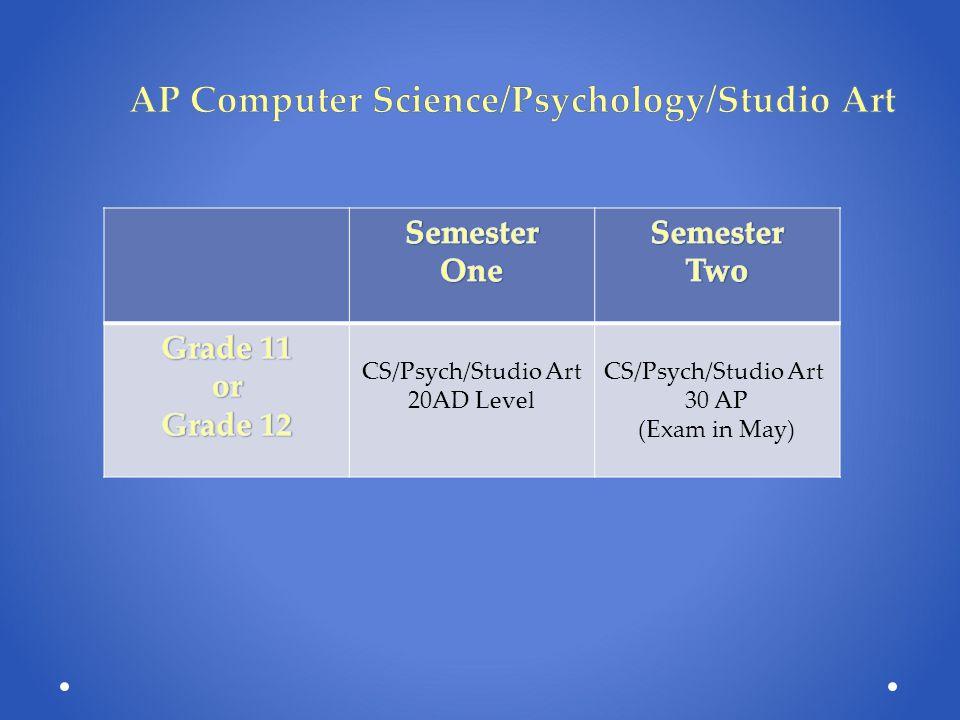 AP Computer Science/Psychology/Studio Art