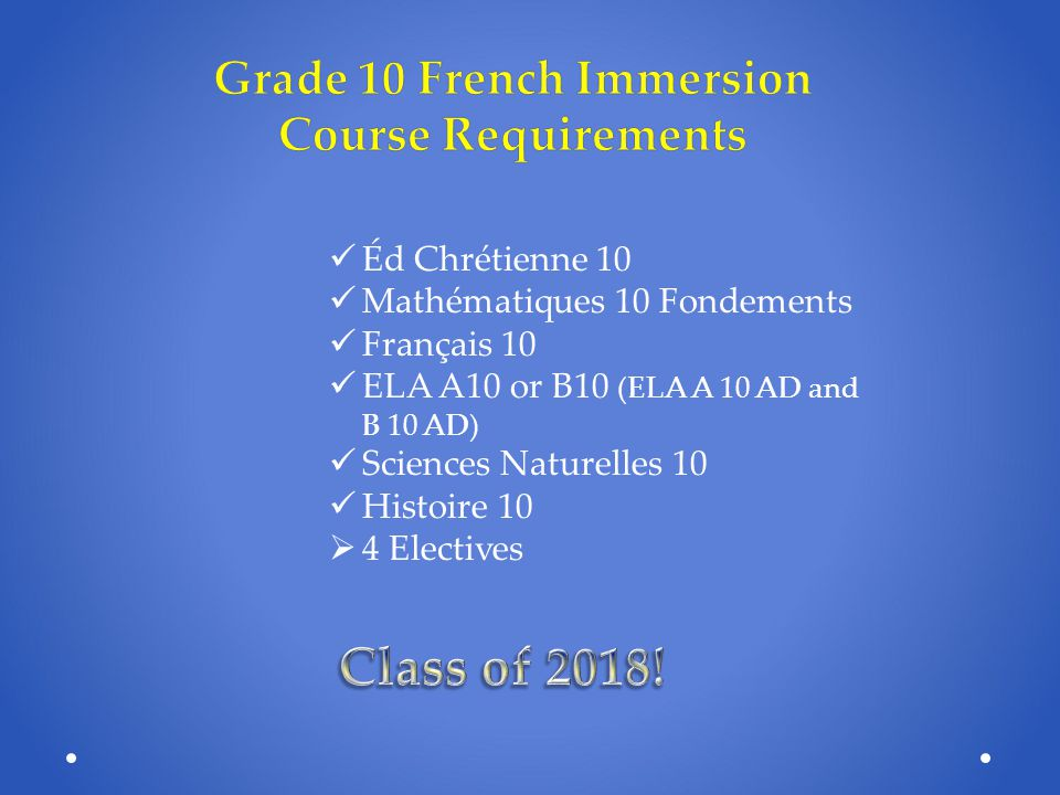 Grade 10 French Immersion Course Requirements