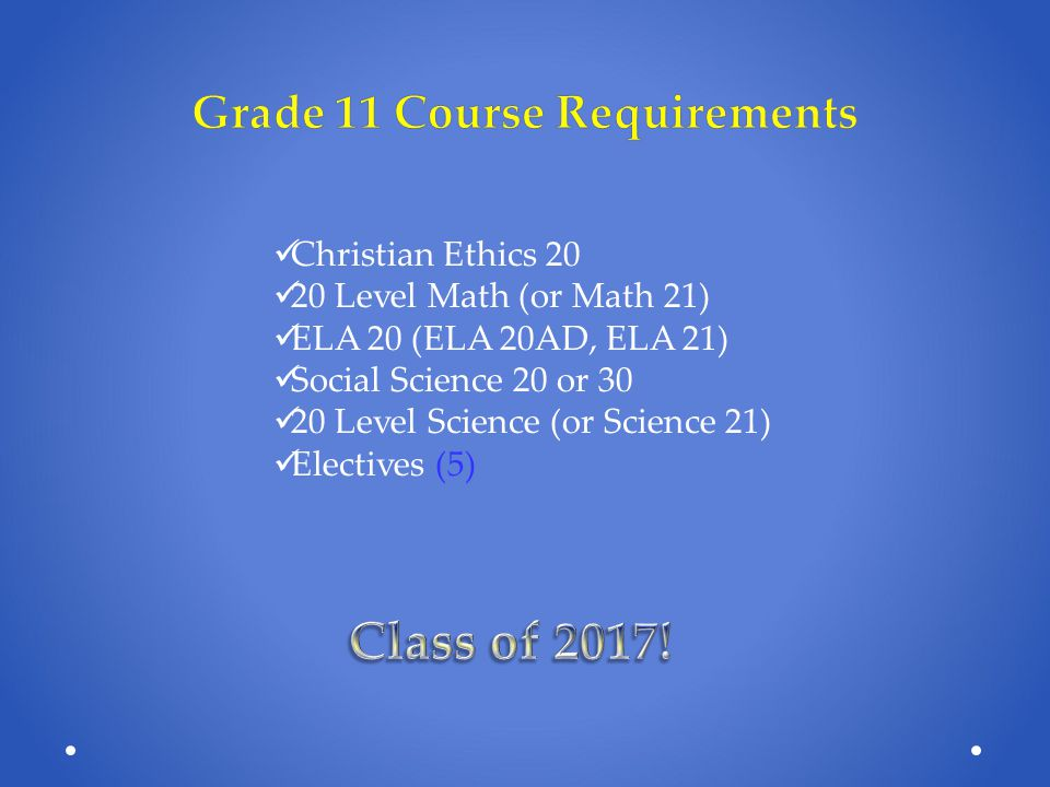Grade 11 Course Requirements