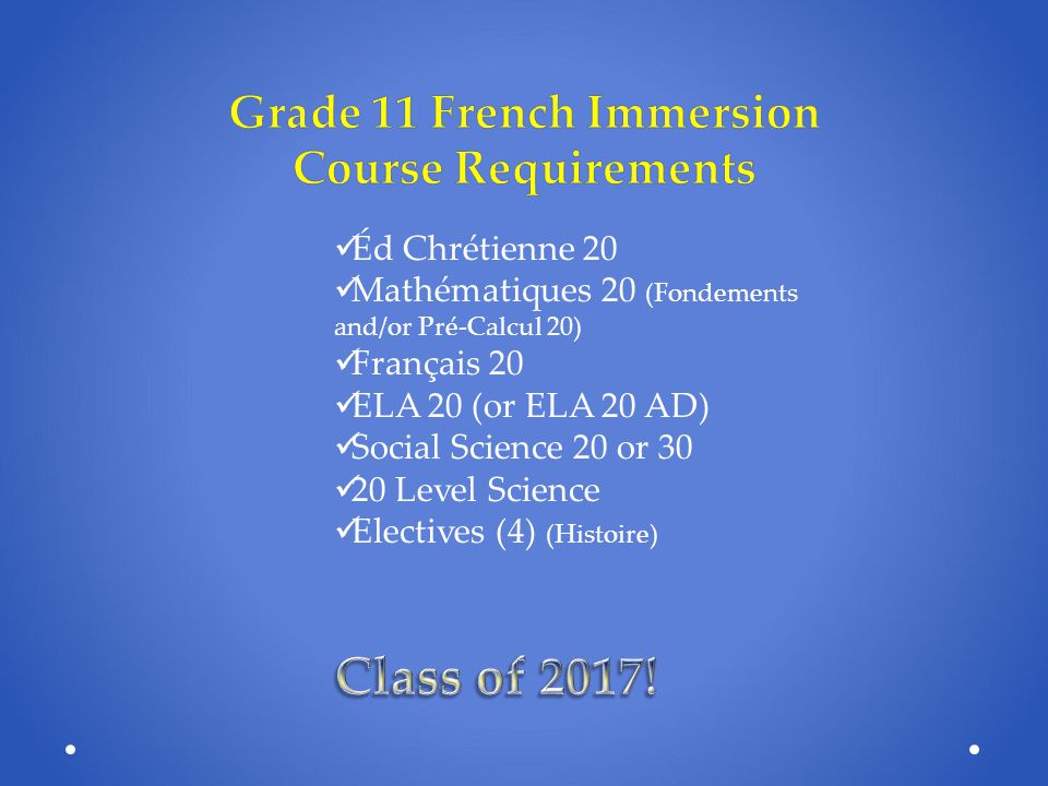 Grade 11 French Immersion Course Requirements
