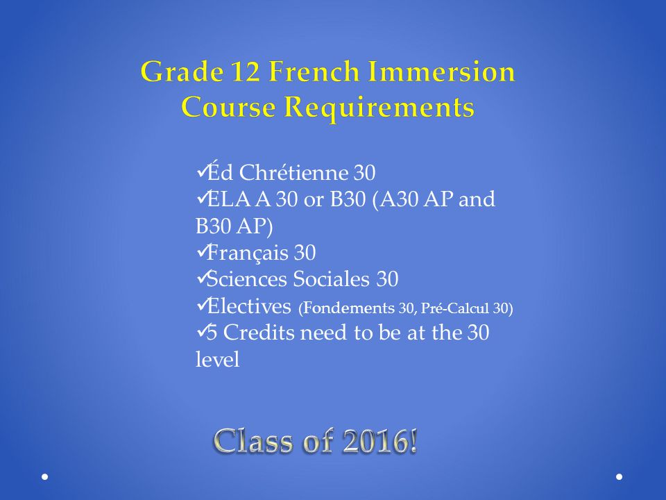 Grade 12 French Immersion Course Requirements