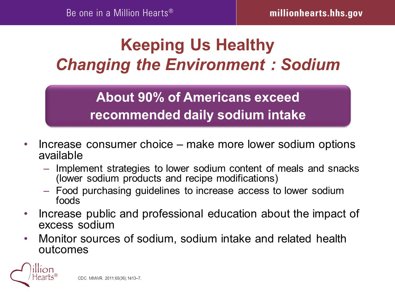 Keeping Us Healthy Changing the Environment : Sodium