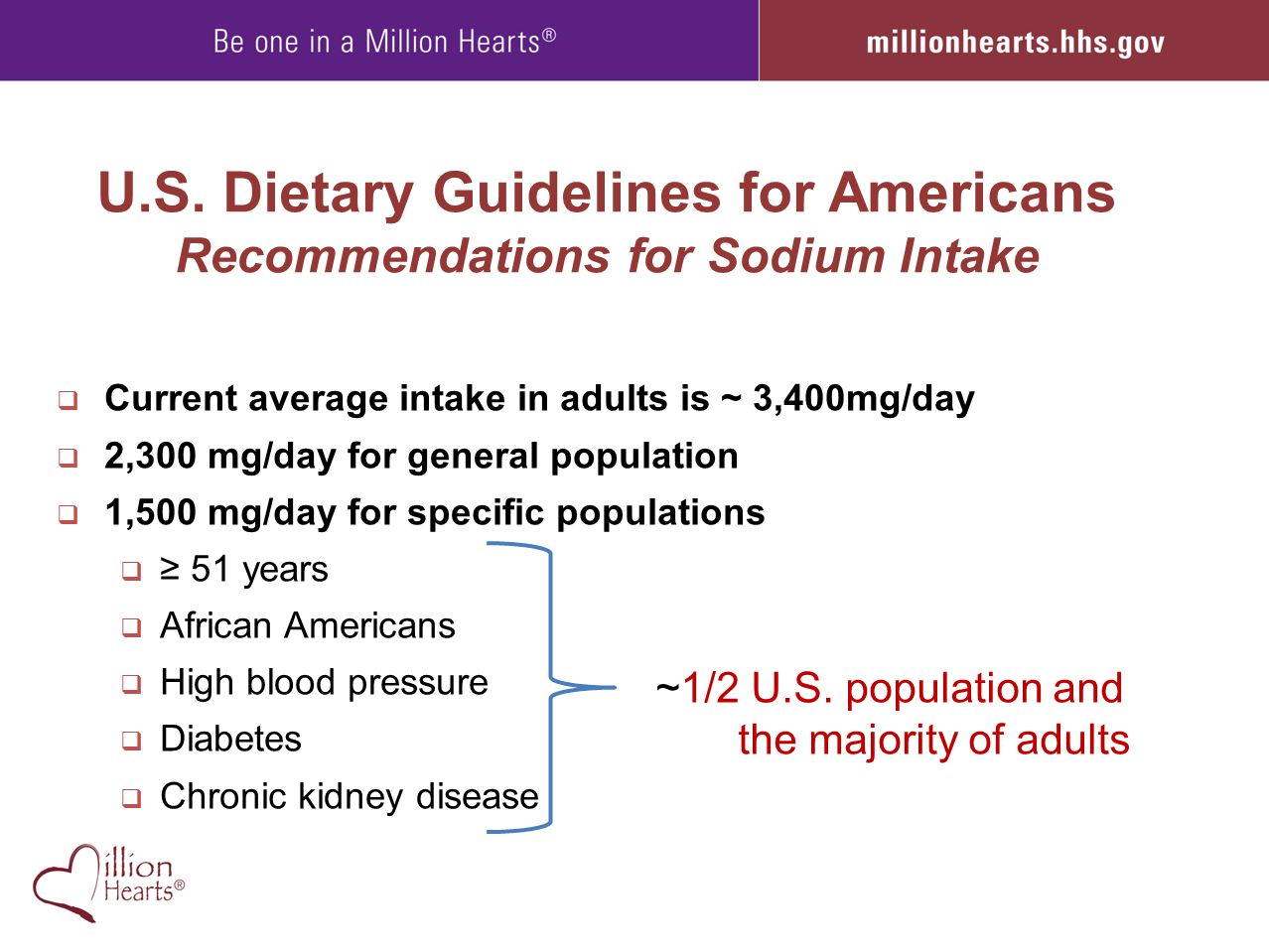 U.S. Dietary Guidelines for Americans Recommendations for Sodium Intake