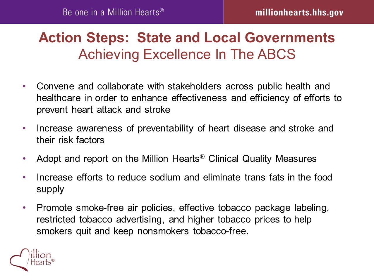 Action Steps: State and Local Governments Achieving Excellence In The ABCS