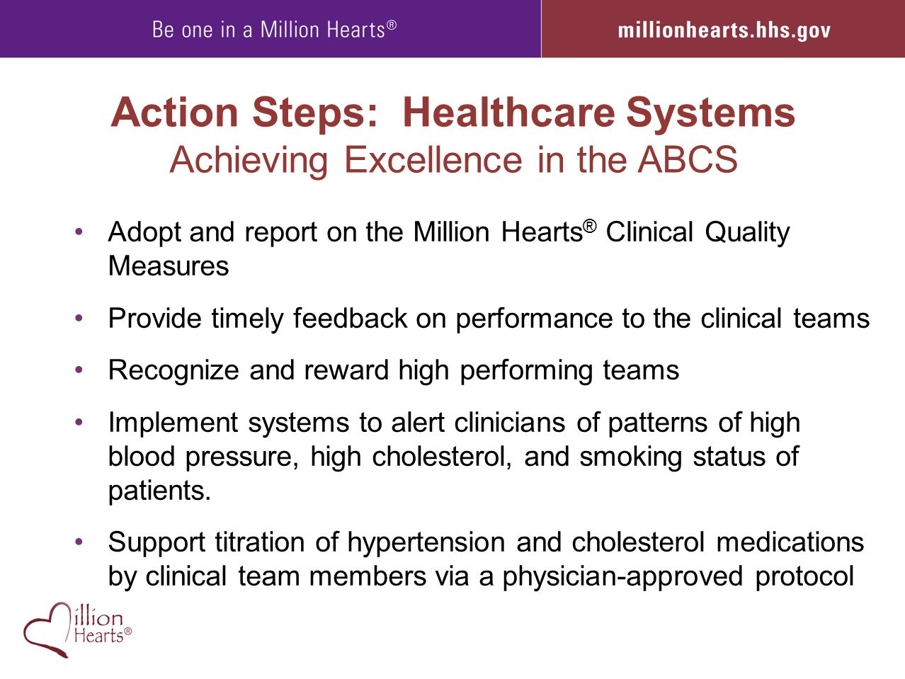 Action Steps: Healthcare Systems Achieving Excellence in the ABCS