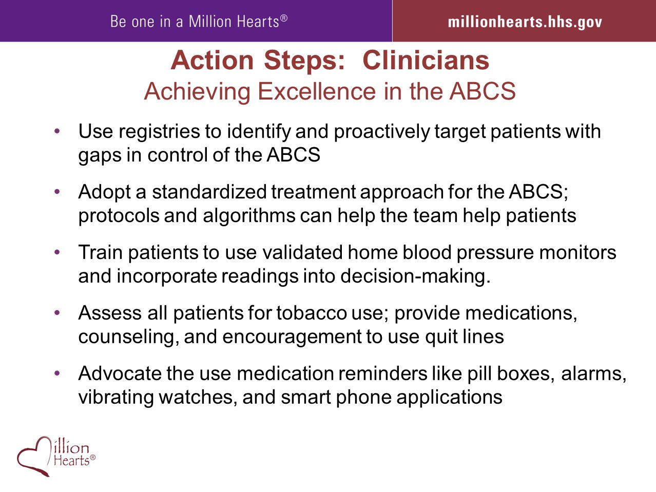 Action Steps: Clinicians Achieving Excellence in the ABCS