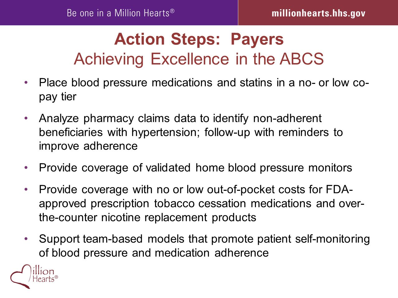 Action Steps: Payers Achieving Excellence in the ABCS