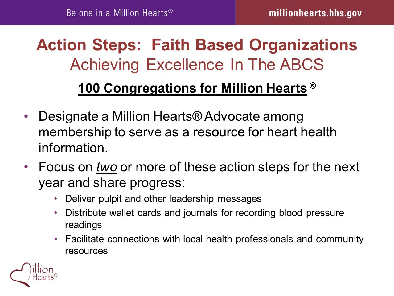 100 Congregations for Million Hearts ®