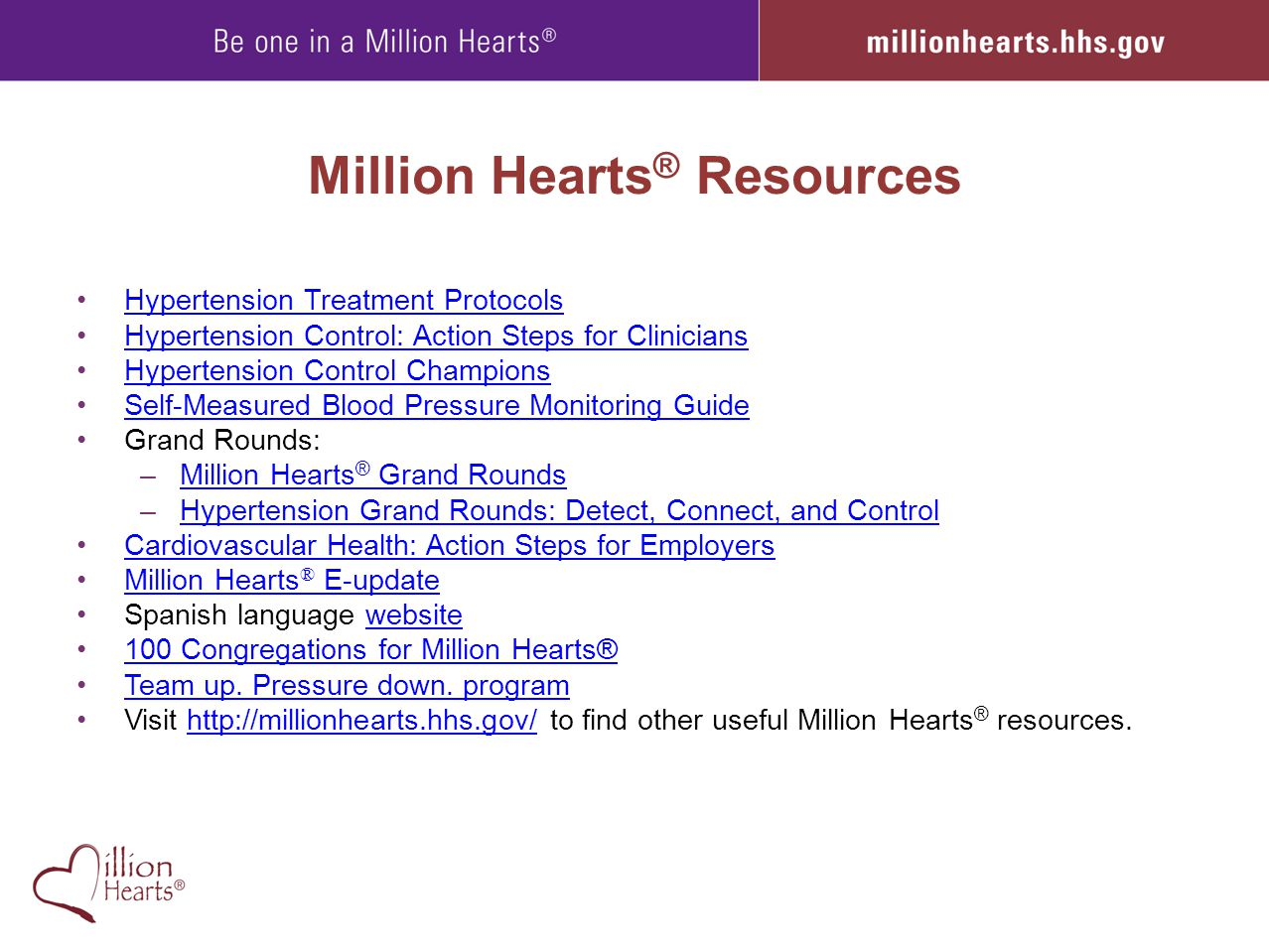 Million Hearts® Resources