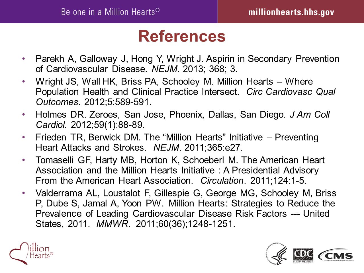 References Parekh A, Galloway J, Hong Y, Wright J. Aspirin in Secondary Prevention of Cardiovascular Disease. NEJM. 2013; 368; 3.
