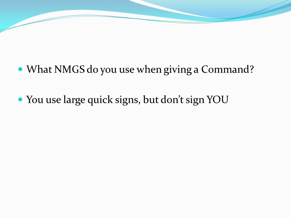What NMGS do you use when giving a Command