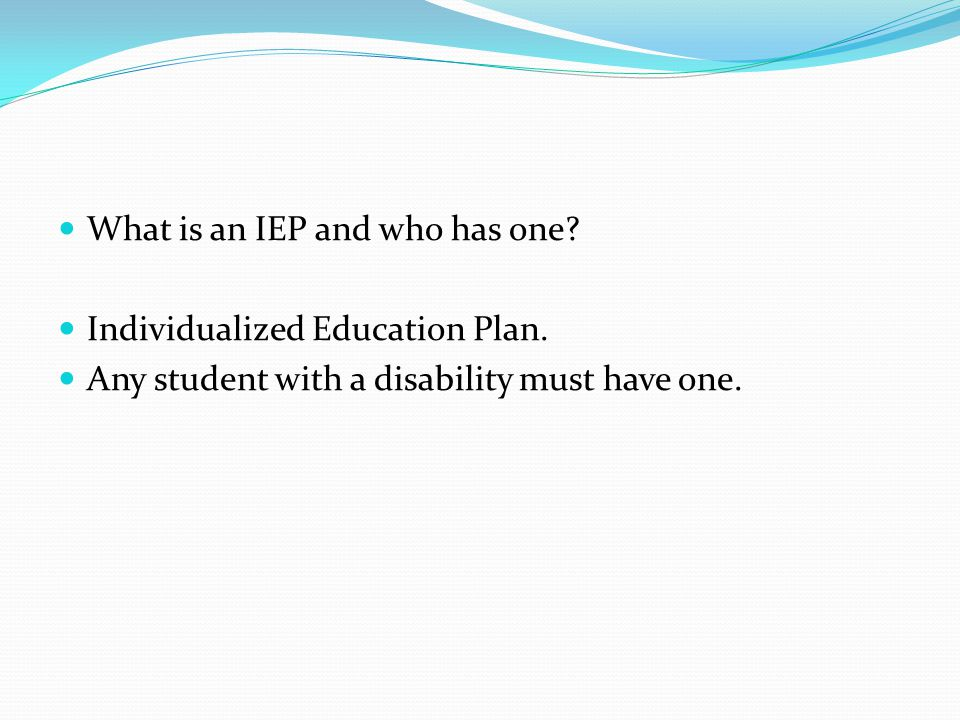 What is an IEP and who has one