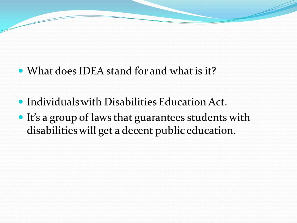 What does IDEA stand for and what is it