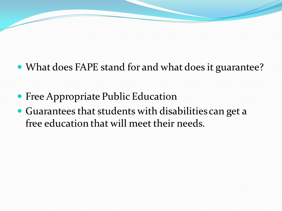 What does FAPE stand for and what does it guarantee