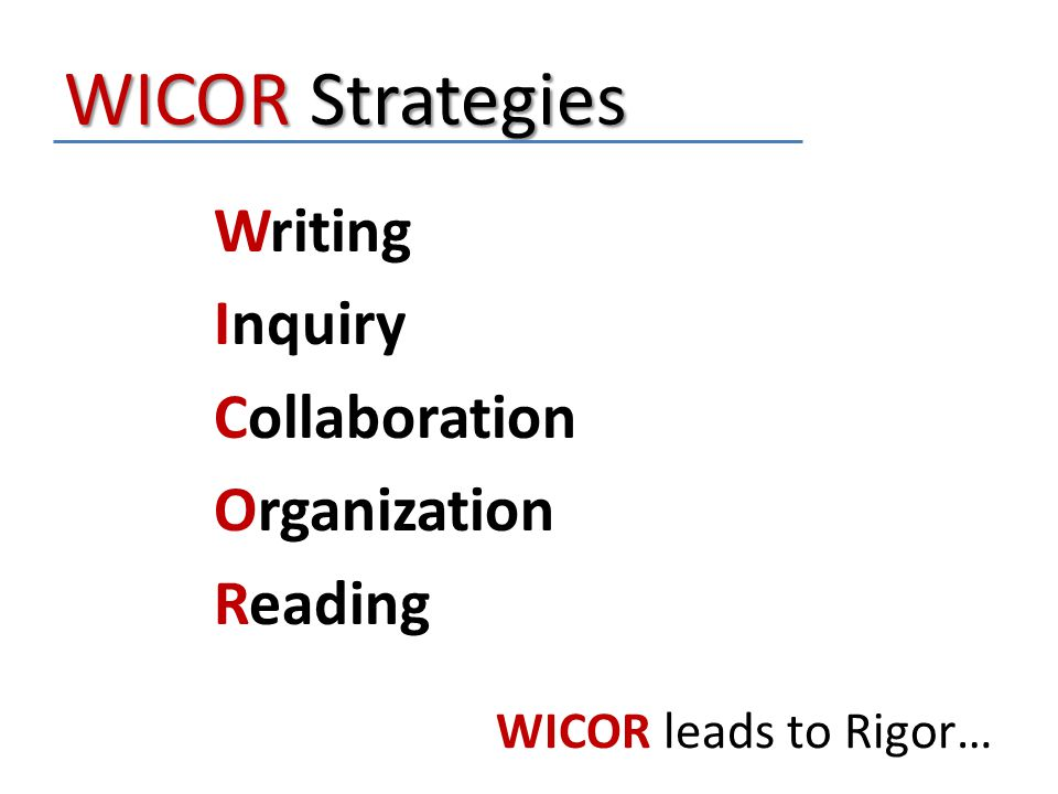 WICOR Strategies Writing Inquiry Collaboration Organization Reading