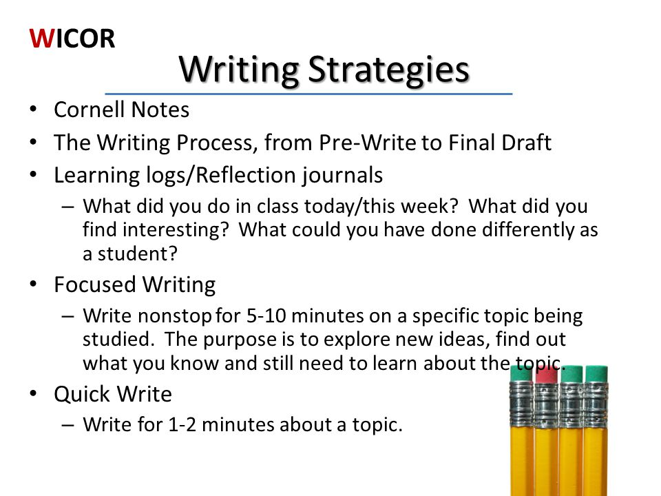 Writing Strategies WICOR Cornell Notes