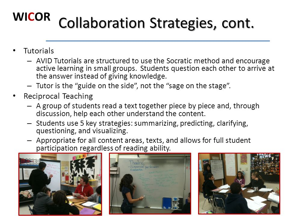 Collaboration Strategies, cont.