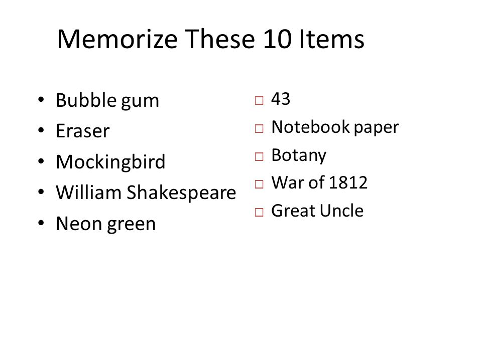 Memorize These 10 Items Bubble gum Eraser Mockingbird