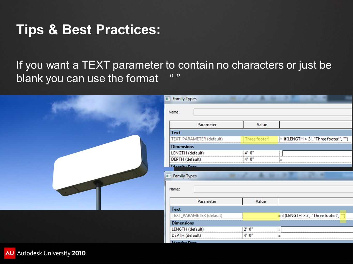 Tips & Best Practices: If you want a TEXT parameter to contain no characters or just be blank you can use the format