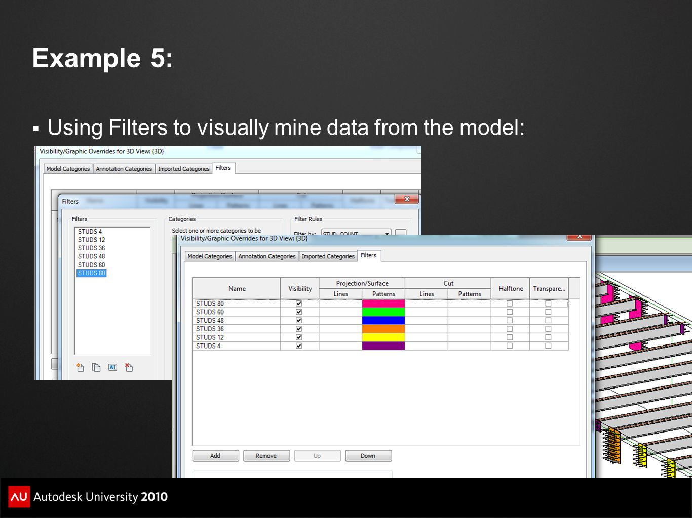 Example 5: Using Filters to visually mine data from the model: