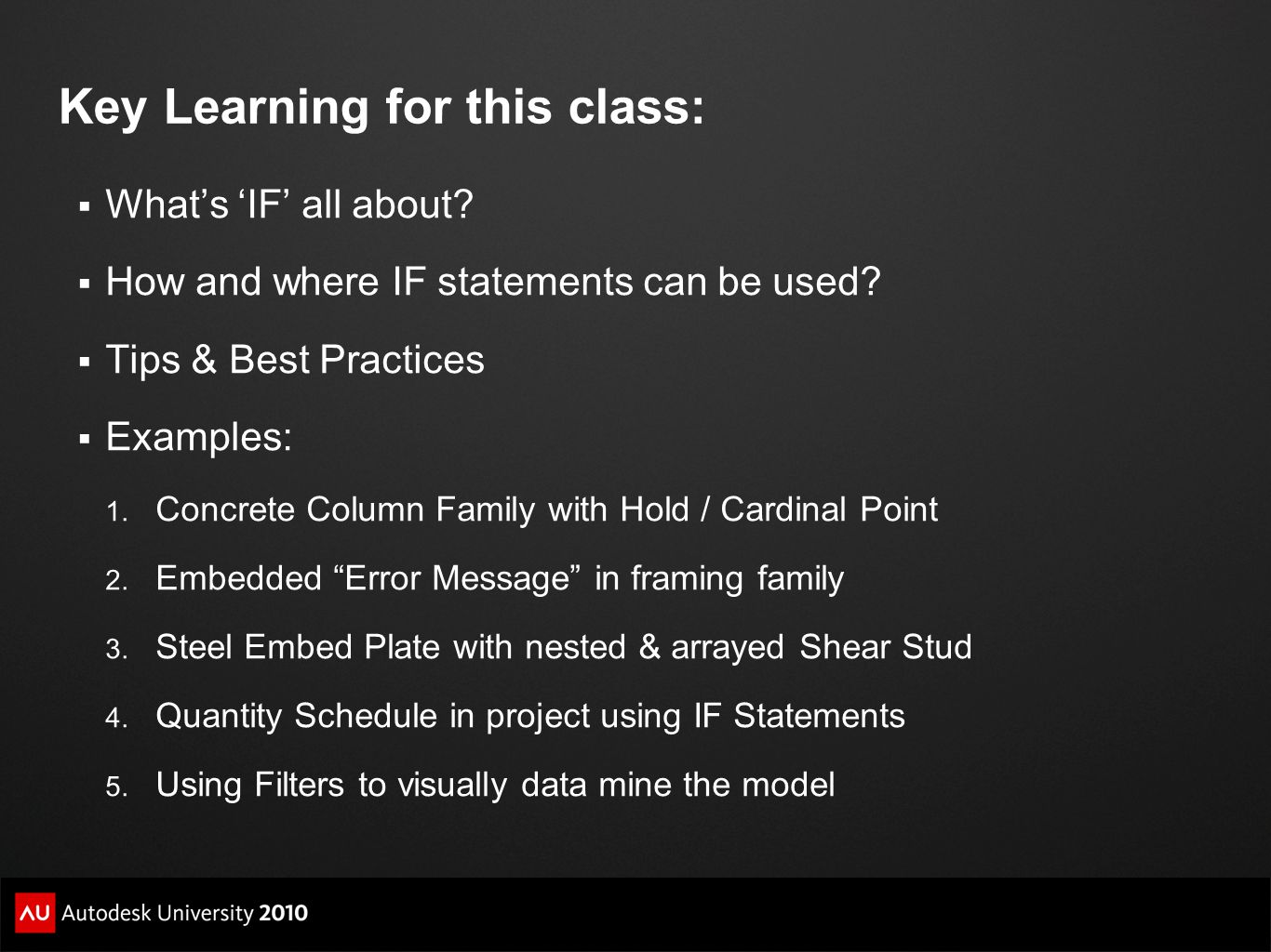 Key Learning for this class: