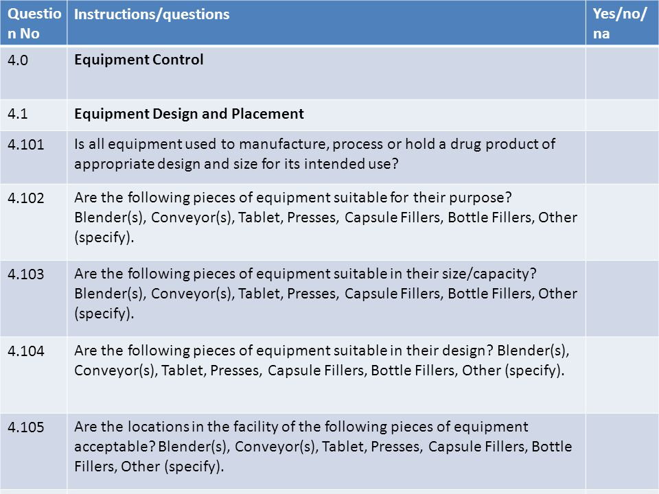 Question No Instructions/questions. Yes/no/na. 4.0. Equipment Control. 4.1. Equipment Design and Placement.