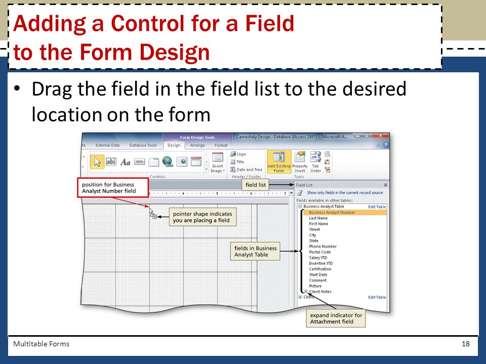 Adding a Control for a Field to the Form Design