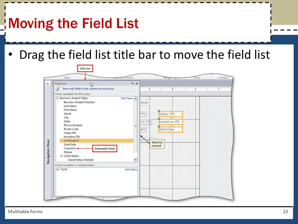 Moving the Field List Drag the field list title bar to move the field list Multitable Forms