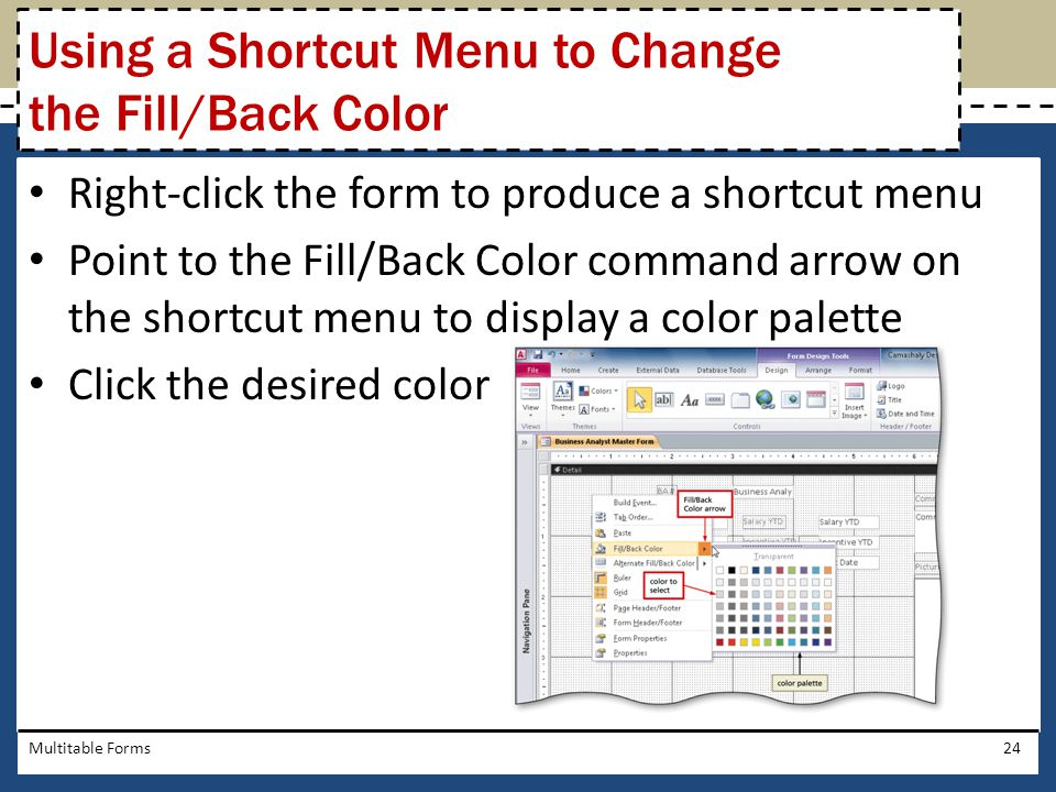 Using a Shortcut Menu to Change the Fill/Back Color