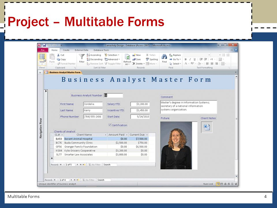 Project – Multitable Forms
