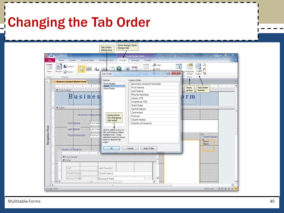 Changing the Tab Order Multitable Forms