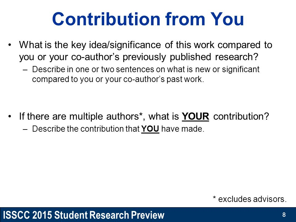 Contribution from You What is the key idea/significance of this work compared to you or your co-author's previously published research