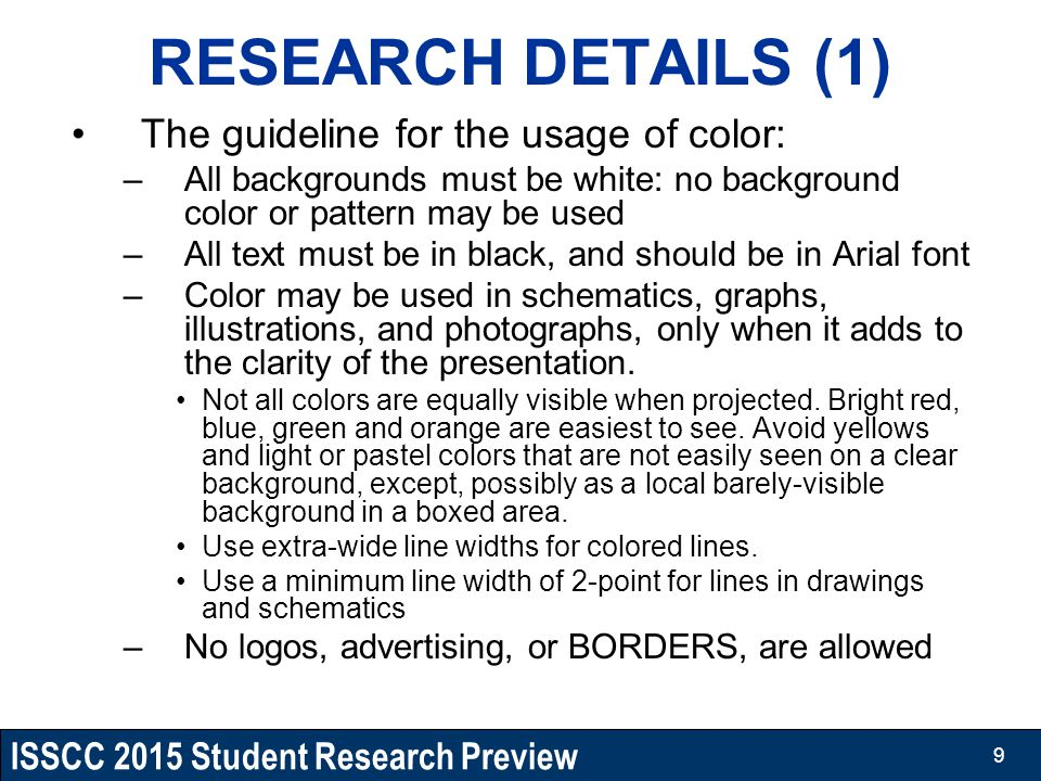 RESEARCH DETAILS (1) The guideline for the usage of color: