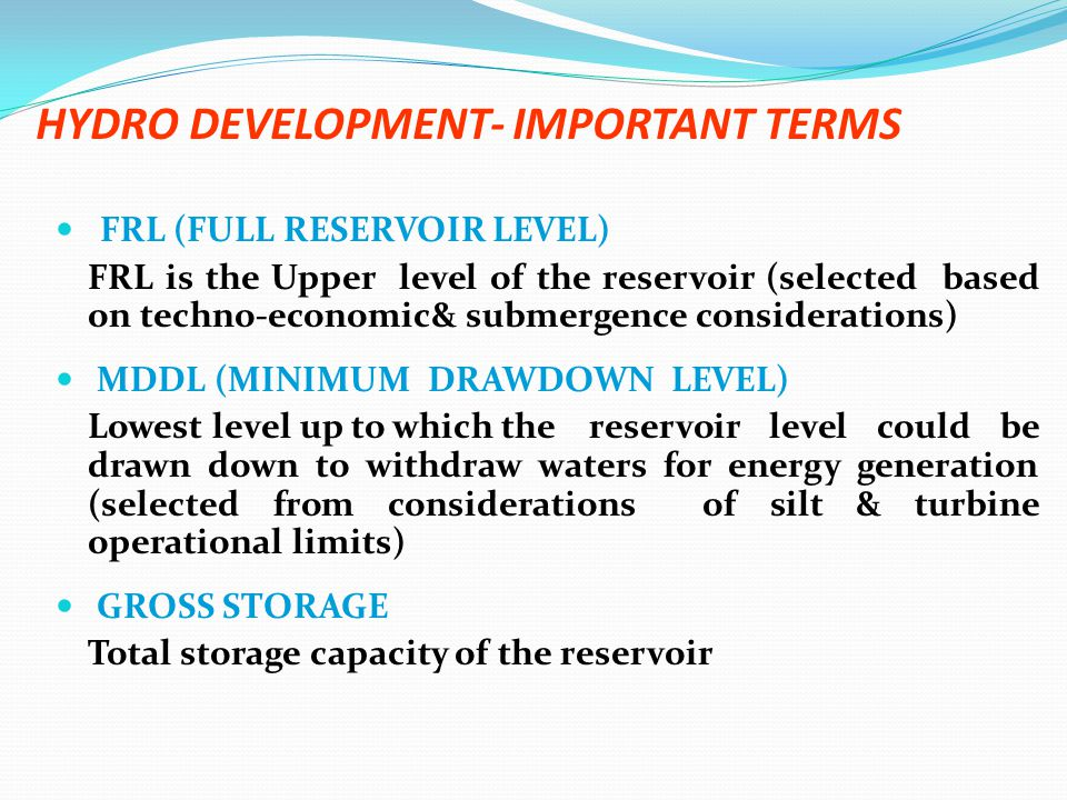 HYDRO DEVELOPMENT- IMPORTANT TERMS