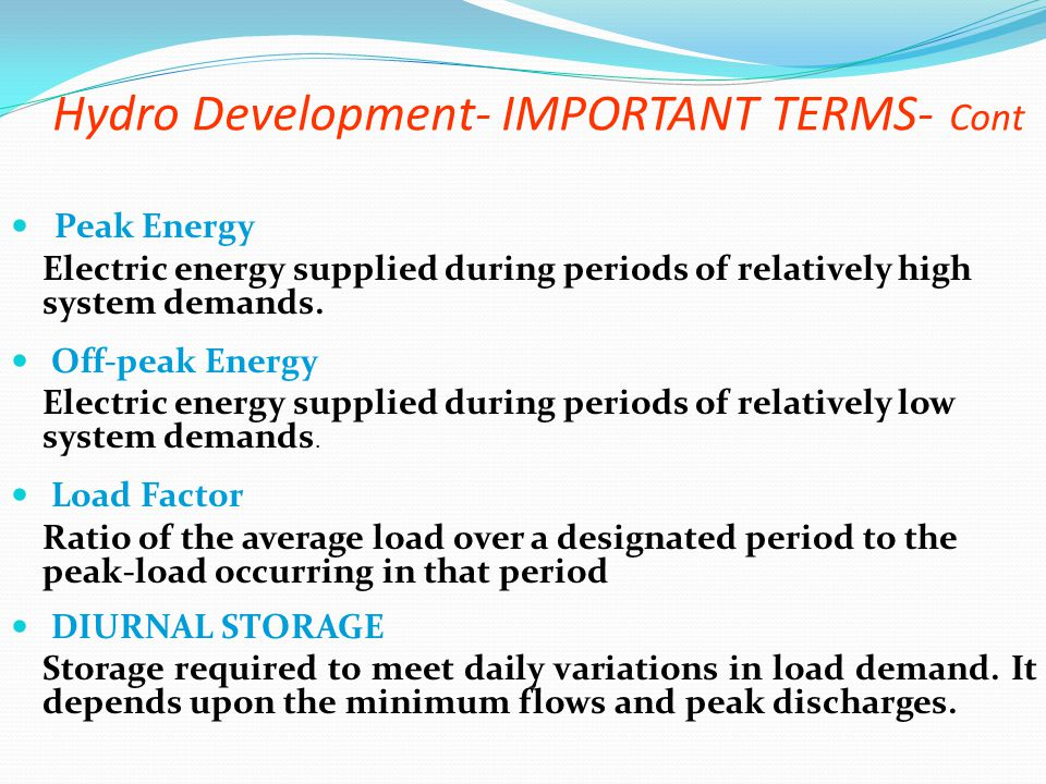 Hydro Development- IMPORTANT TERMS- Cont