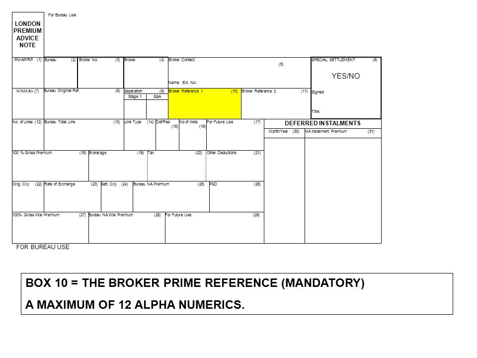 BOX 10 = THE BROKER PRIME REFERENCE (MANDATORY)