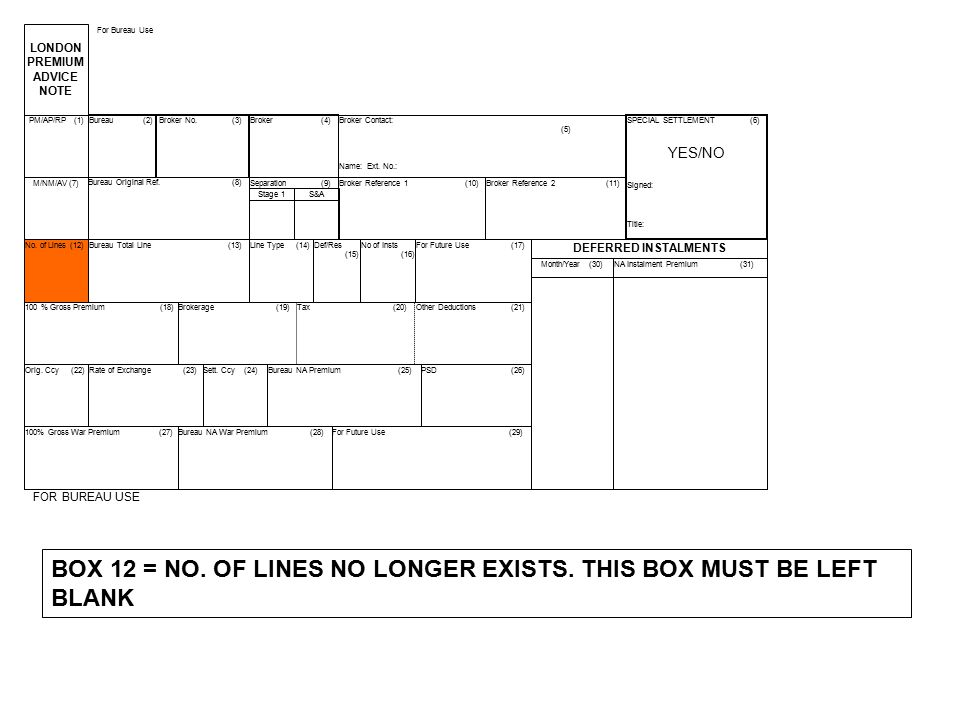 BOX 12 = NO. OF LINES NO LONGER EXISTS. THIS BOX MUST BE LEFT BLANK