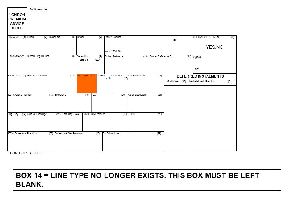BOX 14 = LINE TYPE NO LONGER EXISTS. THIS BOX MUST BE LEFT BLANK.