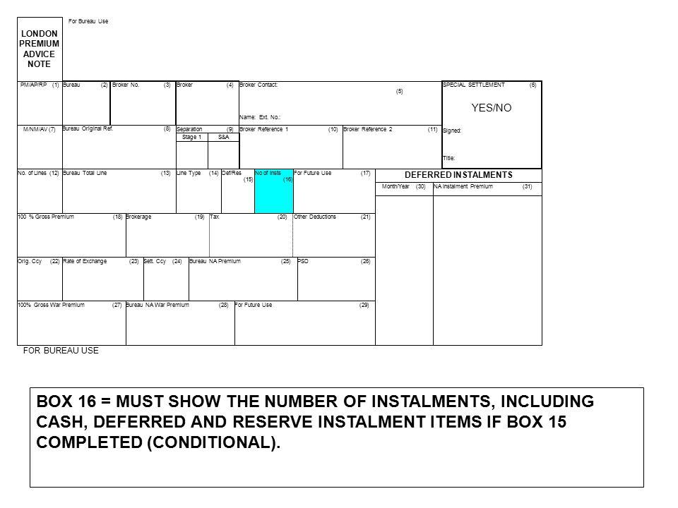 LONDON PREMIUM. ADVICE. NOTE. For Bureau Use. PM/AP/RP (1) Bureau (2) Broker No. (3)