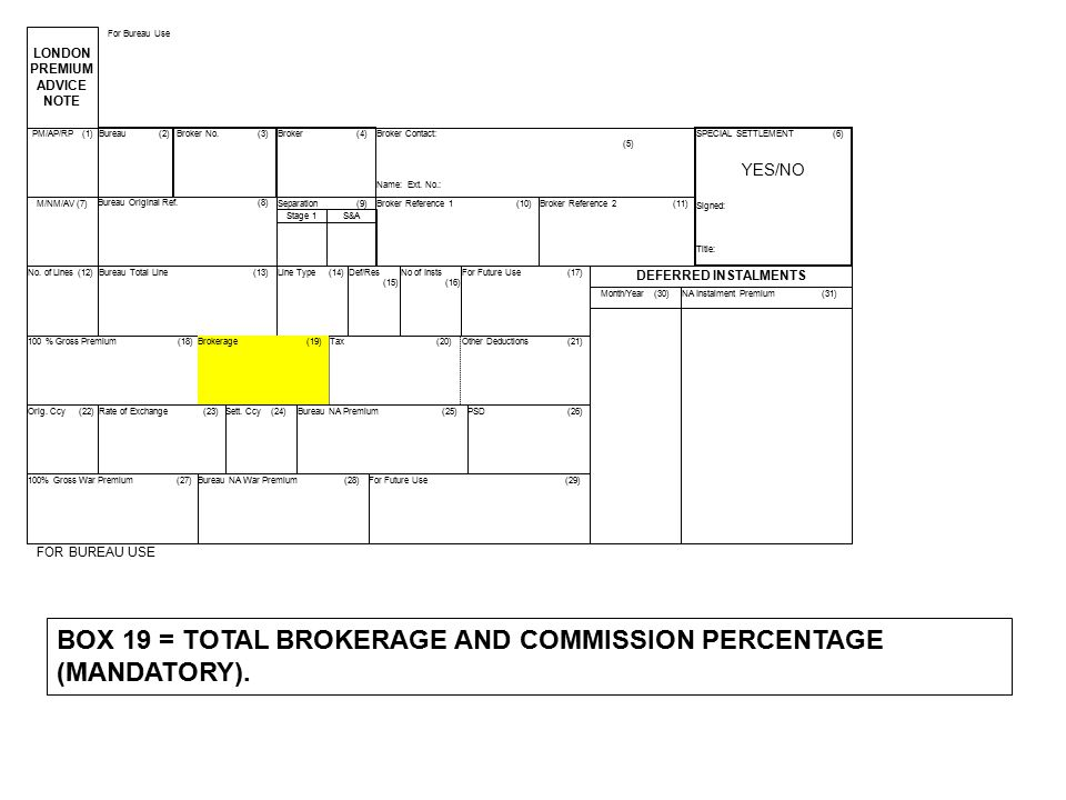 BOX 19 = TOTAL BROKERAGE AND COMMISSION PERCENTAGE (MANDATORY).