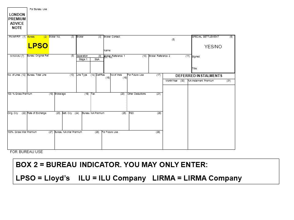 BOX 2 = BUREAU INDICATOR. YOU MAY ONLY ENTER: