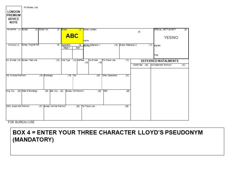 BOX 4 = ENTER YOUR THREE CHARACTER LLOYD'S PSEUDONYM (MANDATORY)