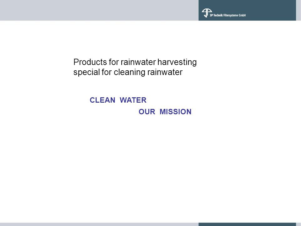 Products for rainwater harvesting special for cleaning rainwater