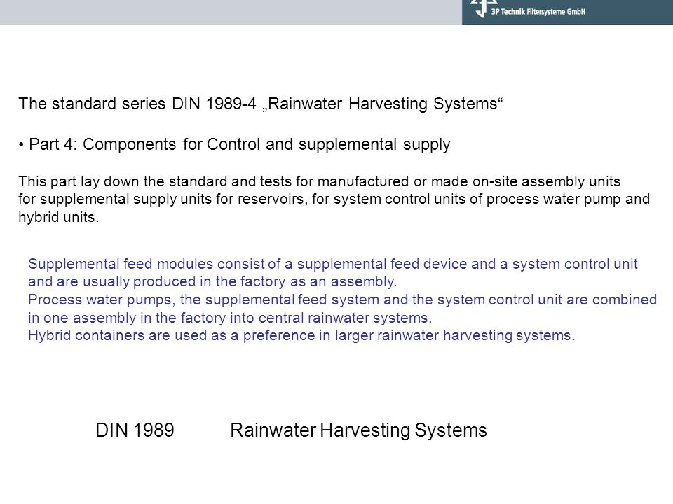 DIN 1989 Rainwater Harvesting Systems