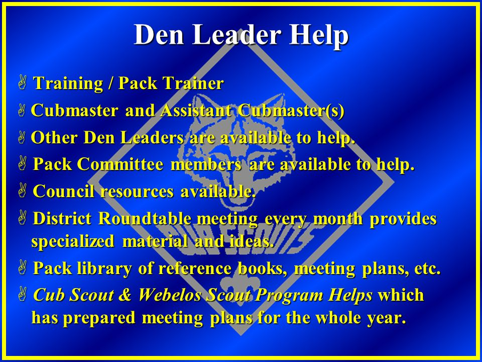 Den Leader Help Training / Pack Trainer